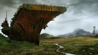 Abandoned carrier countryside military ships wallpaper