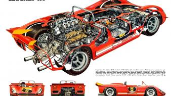 Alfa romeo 33 blueprints cars cutaway drawings prototype wallpaper
