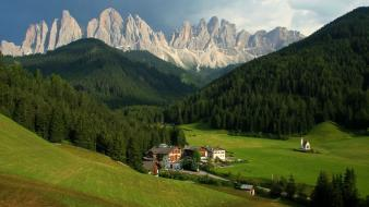 Alps dolomites italy forests grass Wallpaper
