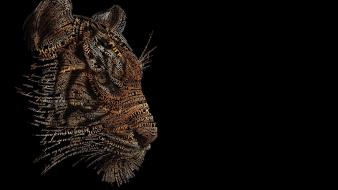 Animals black background text tigers typographic portrait wallpaper