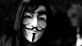 Anonymous v for vendetta masks monochrome wallpaper