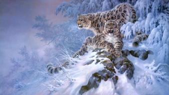 Artistic forests snow leopards winter wallpaper