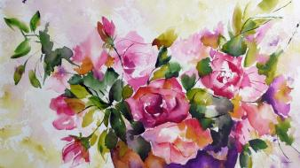 Artwork flowers paintings watercolor Wallpaper