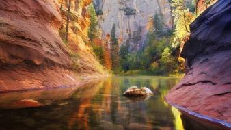Autumn canyon cliffs creek green wallpaper