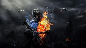 Battlefield 3 artwork buildings explosions flames Wallpaper