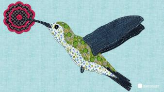 Birds digital art embroidery fancywork hummingbirds Wallpaper