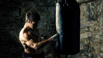Boxer men punch punching bag wallpaper