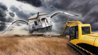 Bulldozer creative digital art fantasy farm wallpaper