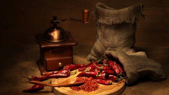 Chili coffee mill digital art mills spices wallpaper