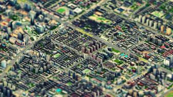 Cityscapes isometric macro tiltshift urban wallpaper