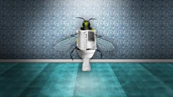 Creative digital art fantasy flies newspaper wallpaper