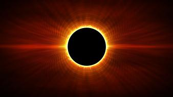 Eclipse light orange outer space wallpaper