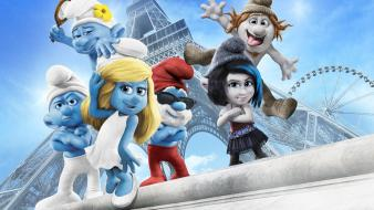 Eiffel tower papa smurf smurfette the smurfs 2 wallpaper