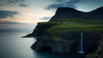 Faroe islands gasadalur village national geographic cliffs landscapes wallpaper