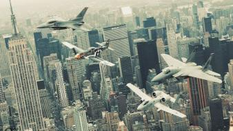 Fighting falcon new york city p-51 mustang wallpaper
