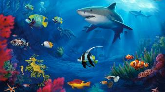 Fish sharks undersea underwater wallpaper