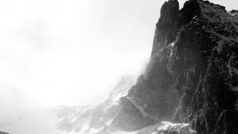 Fog grayscale mountains rocks wallpaper
