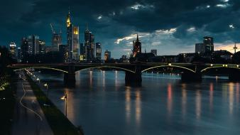 Frankfurt germany bridges rivers urban Wallpaper