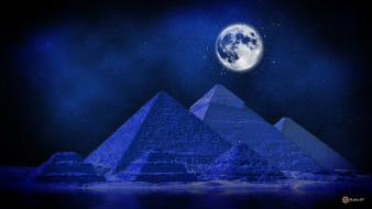 Full moon artwork blue deserts digital art wallpaper