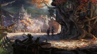 Inn artwork fantasy art ships trees wallpaper