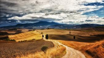 Italy tuscany clouds grass hills wallpaper