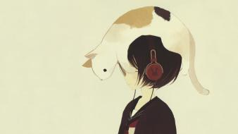 Japanese cats drawings headphones school uniforms wallpaper