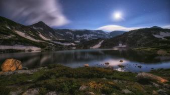 Lakes landscapes mountains night wallpaper