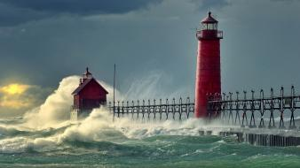 Landscapes lighthouses natural scenery nature ocean wallpaper