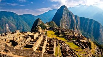 Machu picchu abandoned city landscapes ruins Wallpaper