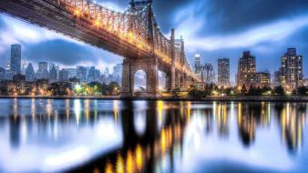 Manhattan roosevelt island bridges city lights night wallpaper