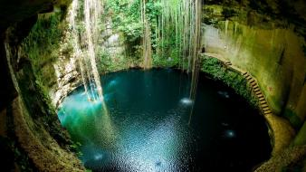 Mexico yucatan peninsula archeological site blue cavern wallpaper