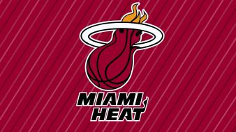 Miami heat nba basketball logos red background wallpaper