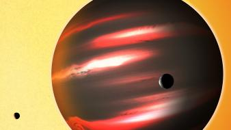 Moon sun artwork astronomy exoplanets wallpaper