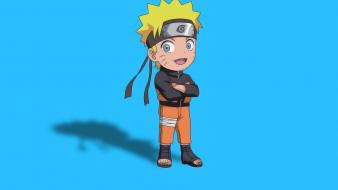 Naruto: shippuden uzumaki naruto blue background chibi wallpaper