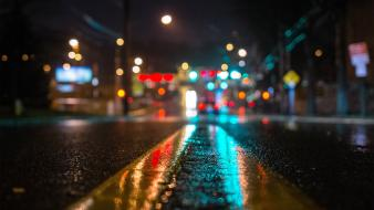 New york city asphalt bokeh cities lights wallpaper