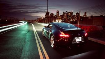 Nissan 370z cars long exposure night roads wallpaper