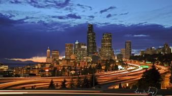 Seattle city lights night cityscapes wallpaper