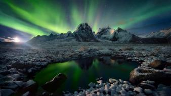 Sun aurora borealis blue dawning green wallpaper