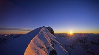 Sun landscapes mountains nature snow wallpaper