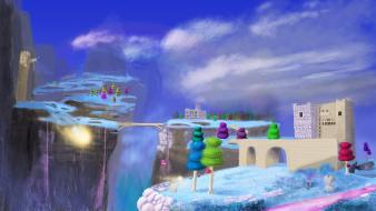 Terraria artwork bridges buildings clouds wallpaper