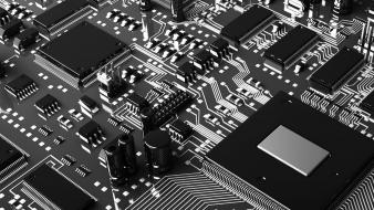 3d noir black and white circuits motherboards wallpaper