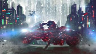 Akira artwork cities futuristic motorbikes Wallpaper