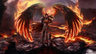 Angels fire video games wings wallpaper
