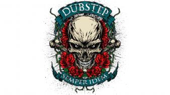 Artwork dubstep skulls white background wallpaper