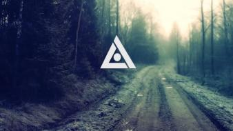 Artwork forests nature trees triangles wallpaper