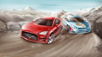 Artwork races sport cars wallpaper