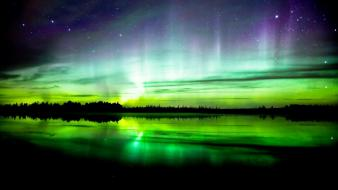Aurora borealis lakes waterscapes zoltan wallpaper