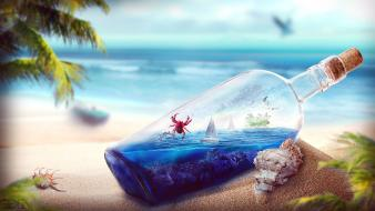 Beaches bottles digital art sand shells wallpaper