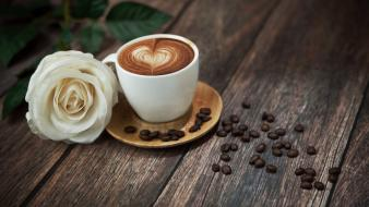 Beans coffee drinking white roses wood Wallpaper