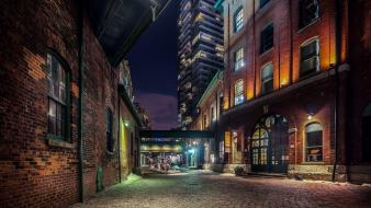 Canada toronto brick wall buildings cobblestones Wallpaper